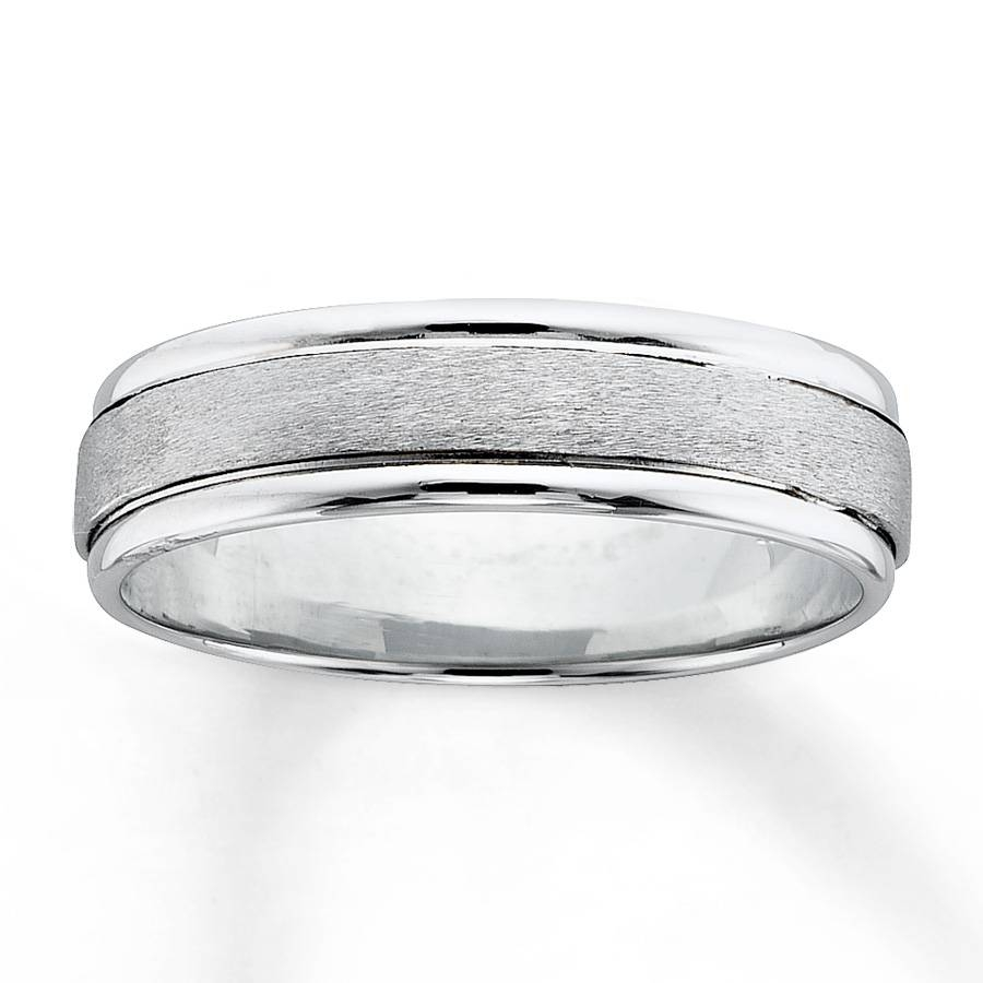 Kay – Men's Wedding Band 18K White Gold Platinum Intended For White Gold Wedding Bands For Him (View 6 of 15)