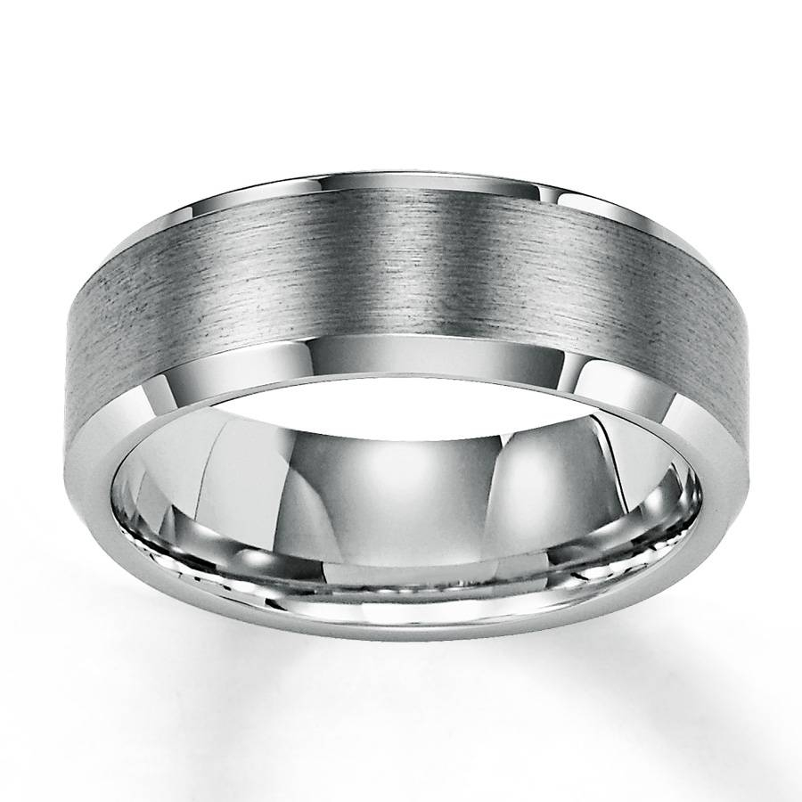 Kay – Men's Wedding Band White Tungsten Carbide 8mm Regarding Men's Wedding Bands Metals (View 13 of 15)