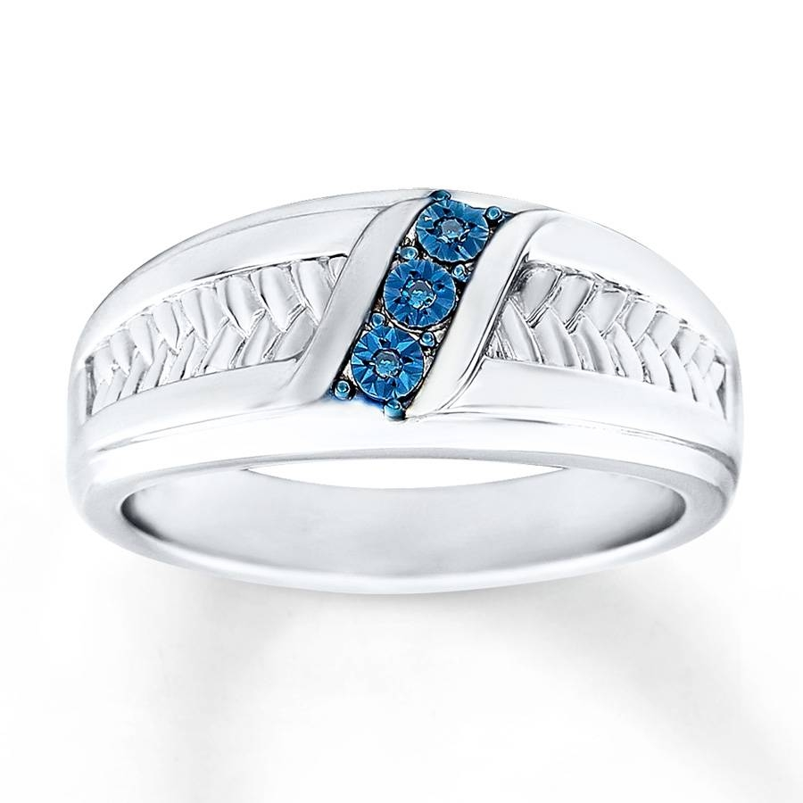 Kay – Men's Wedding Ring Blue Diamond Accents Sterling Silver In Silver Mens Engagement Rings (View 8 of 15)