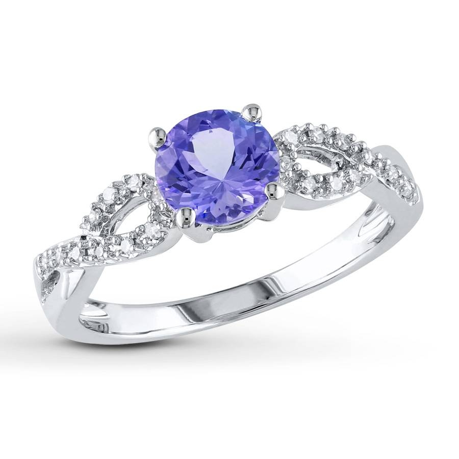 Kay – Tanzanite Ring 1/15 Ct Tw Diamonds 10K White Gold For Diamond Tanzanite Engagement Rings (Gallery 1 of 15)