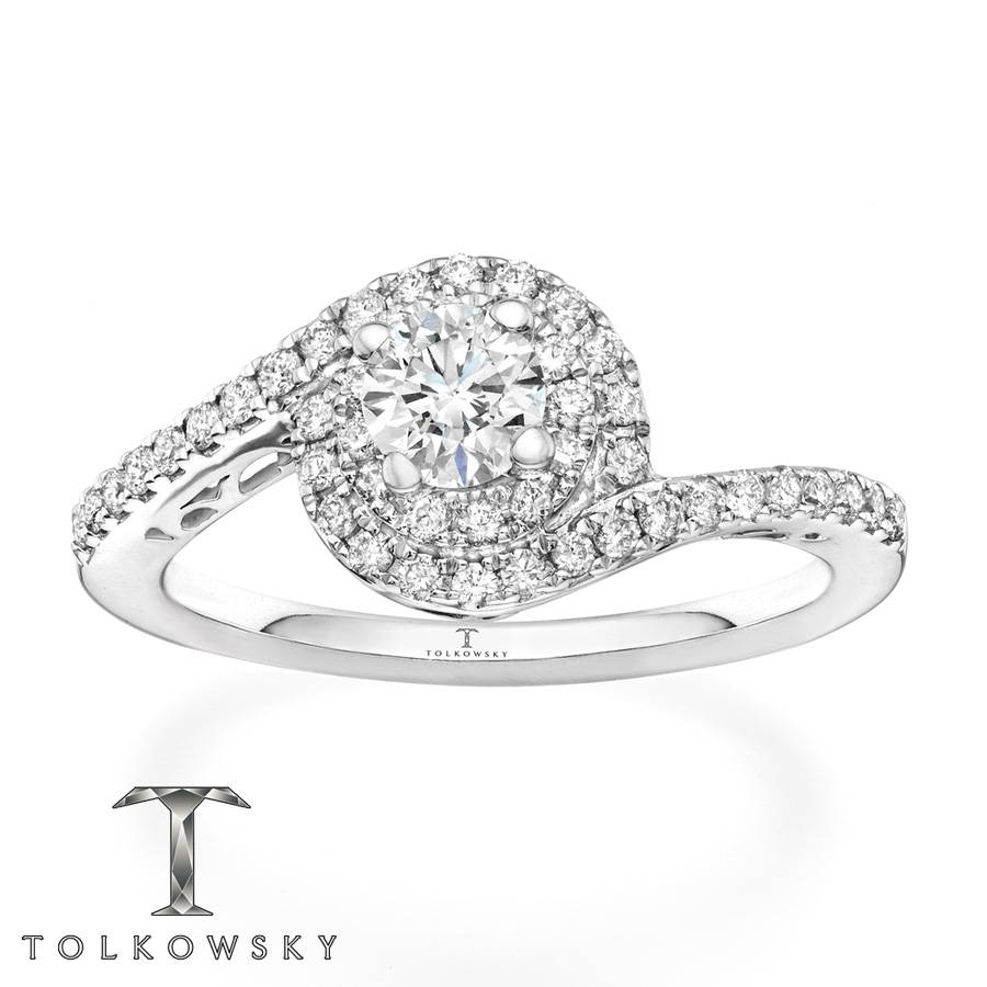 Kay – Tolkowsky Engagement Ring 3/4 Ct Tw Diamonds 14k White Gold Throughout Spiral Engagement Rings (View 10 of 15)