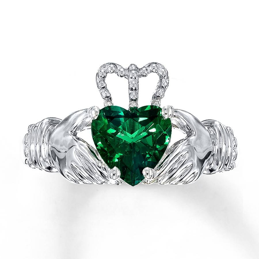Kayoutlet – Claddagh Ring Lab Created Emerald Sterling Silver With Regard To Emerald Claddagh Engagement Rings (View 9 of 15)