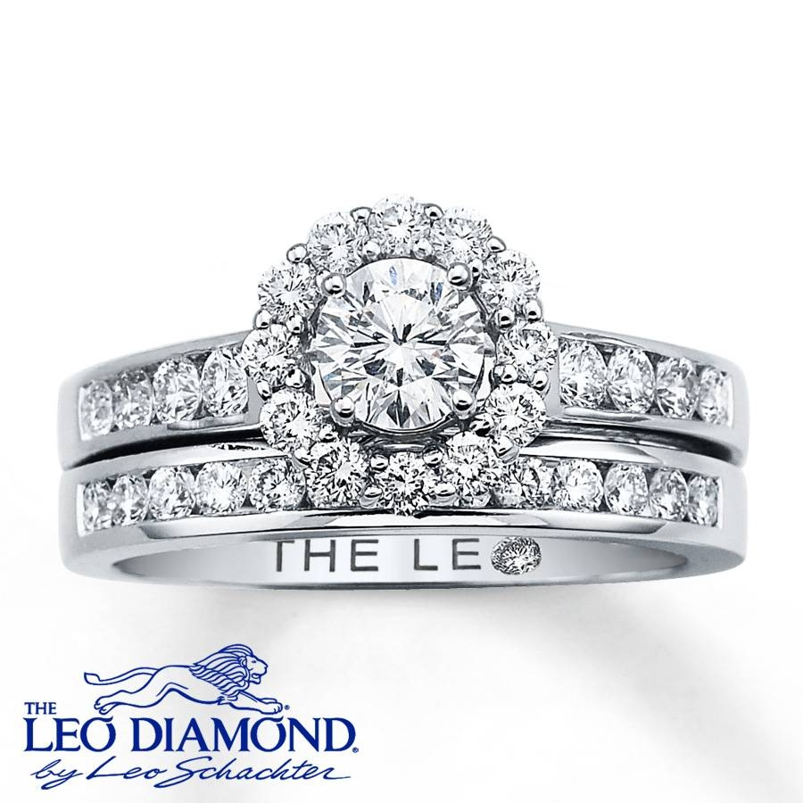 Kayoutlet – Leo Diamond Bridal Set 1 1/8 Ct Tw Round Cut 14K White With Regard To Leo Diamonds Engagement Rings (View 13 of 15)