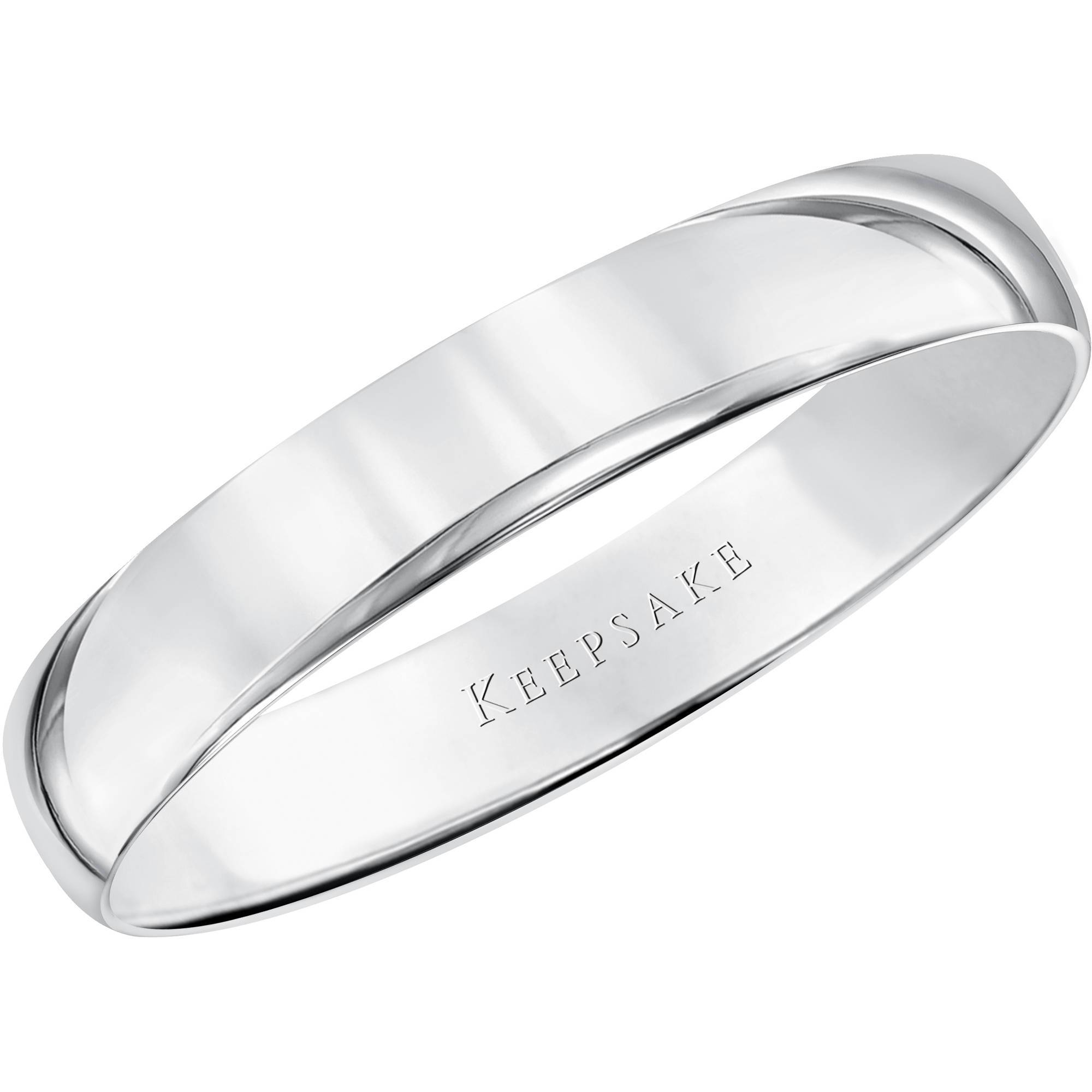 Keepsake 10kt White Gold Wedding Band With High Polish Finish, 5mm Within Walmart White Gold Wedding Bands (View 9 of 15)
