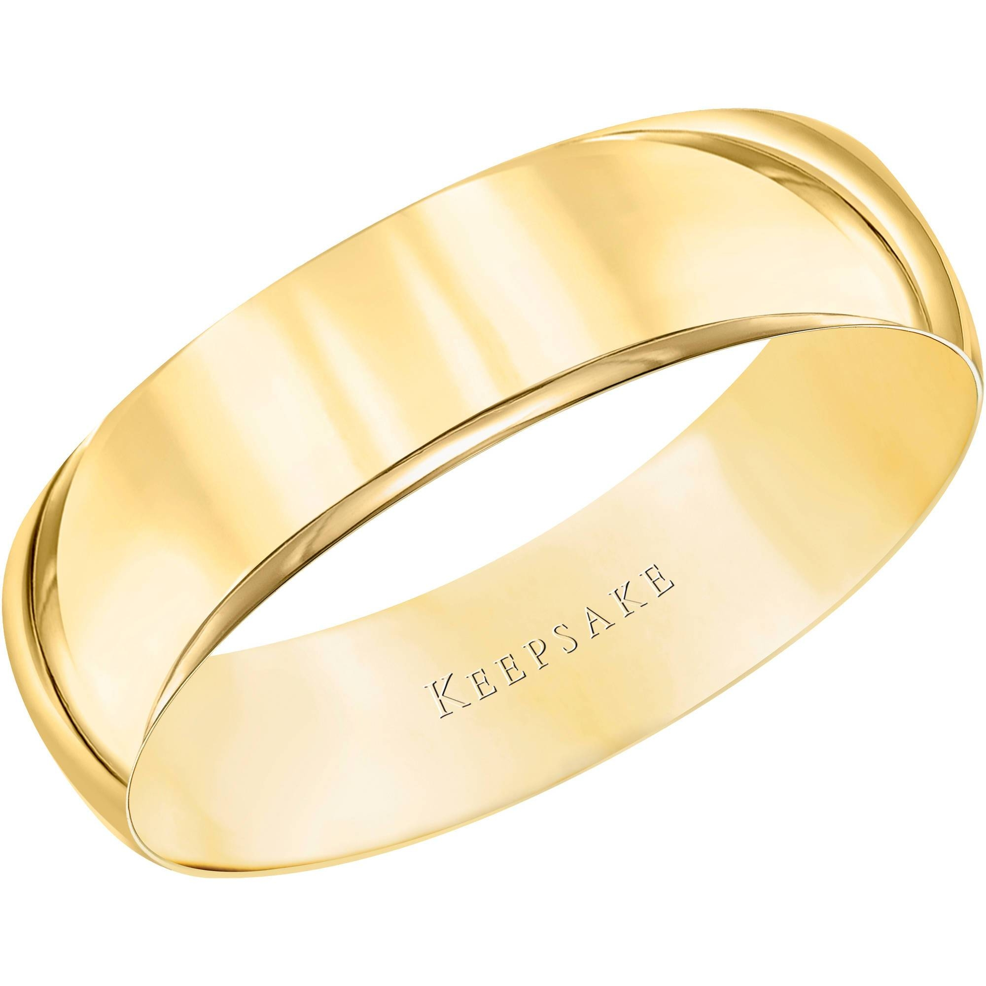 Keepsake 10Kt Yellow Gold Wedding Band With High Polish Finish Inside Men's Wedding Bands At Walmart (View 4 of 15)