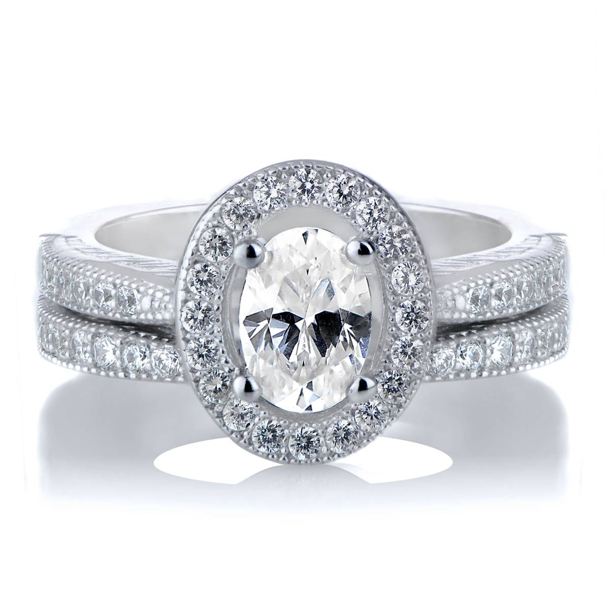Kiara's Oval Cut Cz Halo Wedding Ring Set In Oval Wedding Rings Sets (View 8 of 15)