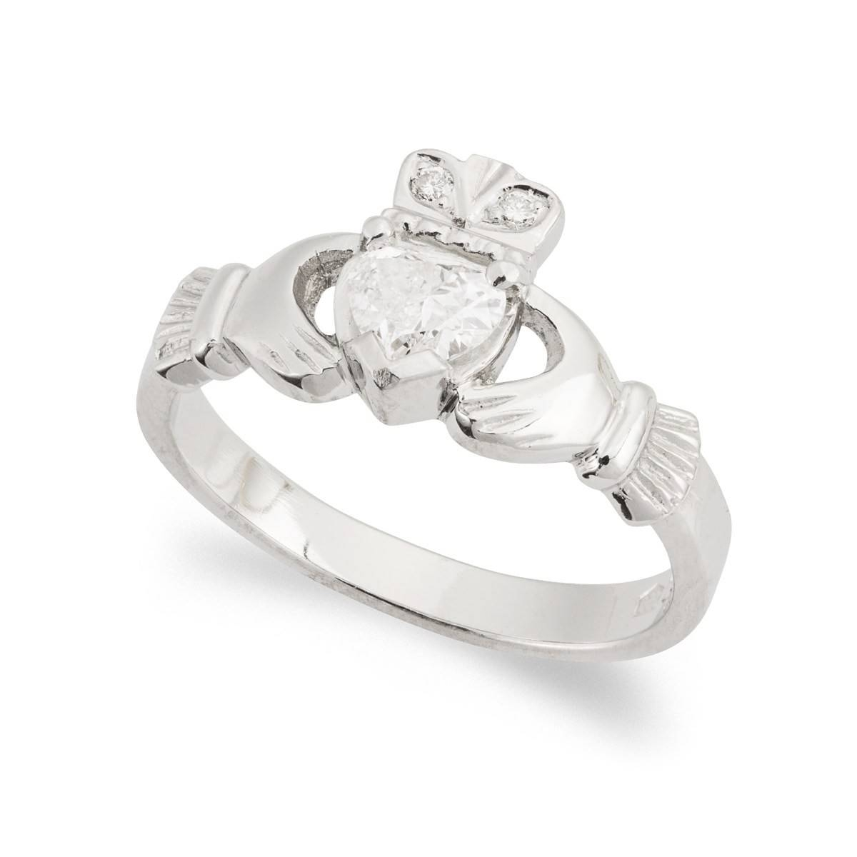 Kinvara Diamond Claddagh Ring In 18 Kt White Gold| Regarding Diamond Claddagh Engagement Rings (View 13 of 15)