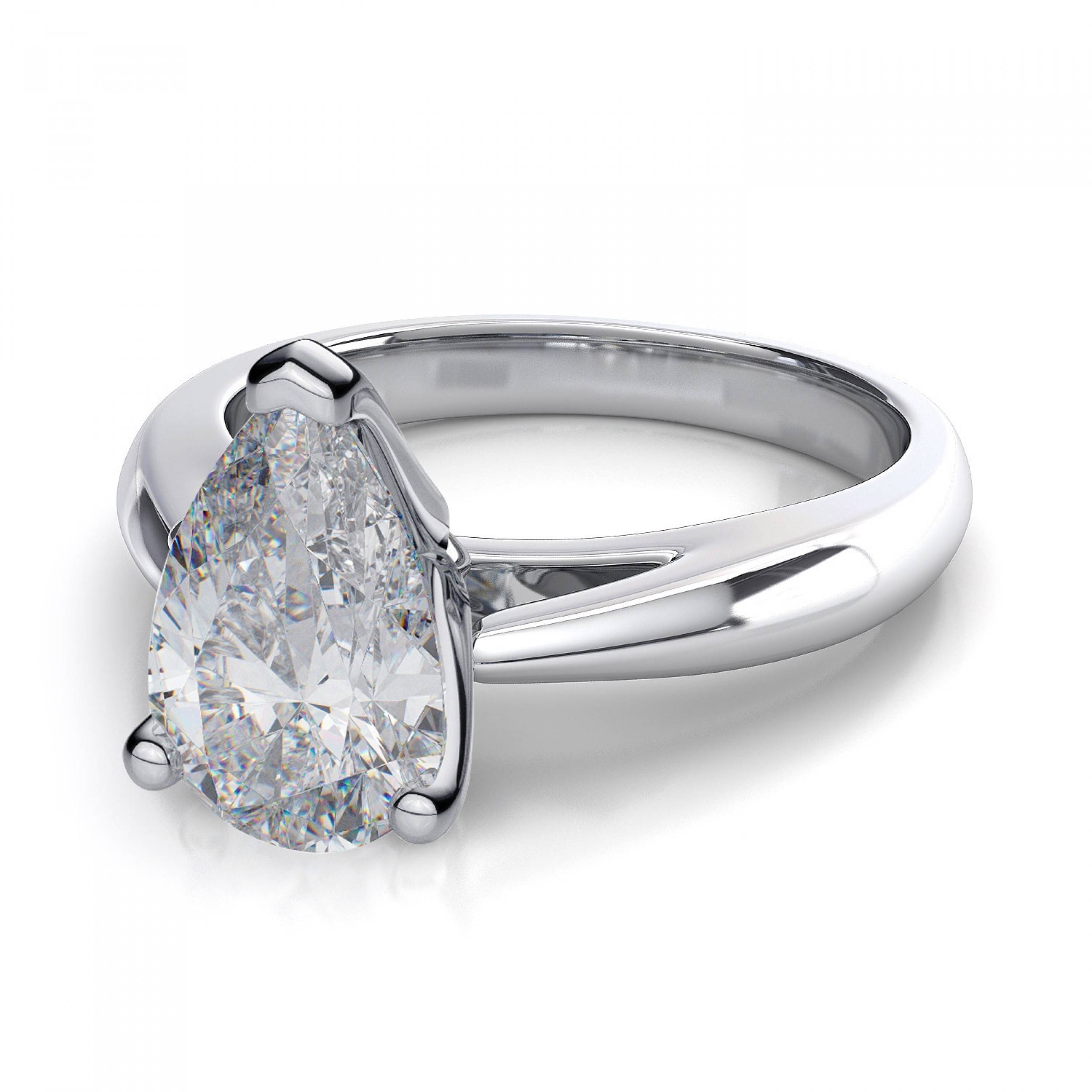 Knife Edge Pear Shape Diamond Solitaire Ring – Platinum Inside Pear Shaped Engagement Ring Settings (Gallery 4 of 15)