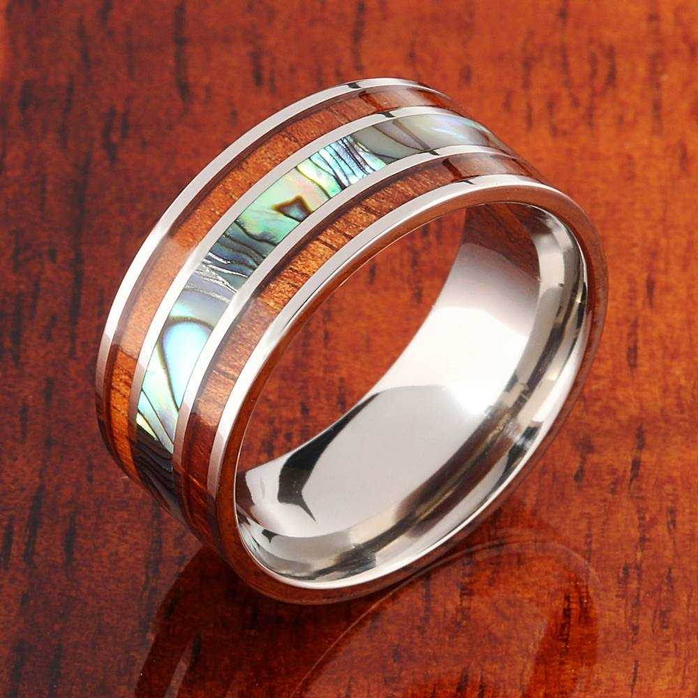 Koa Wood Abalone Titanium Wedding Ring Mens Ring 10Mm – Makani Regarding 10Mm Men's Wedding Bands (View 9 of 15)