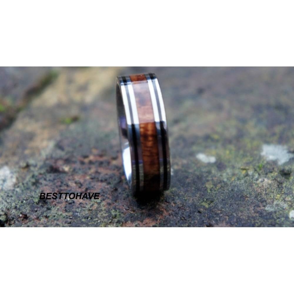 Koa Wood Inlay Tungsten Carbide Ring 8Mm Wide Wedding Engagement Throughout Tungsten Wedding Bands With Wood Inlay (View 6 of 15)