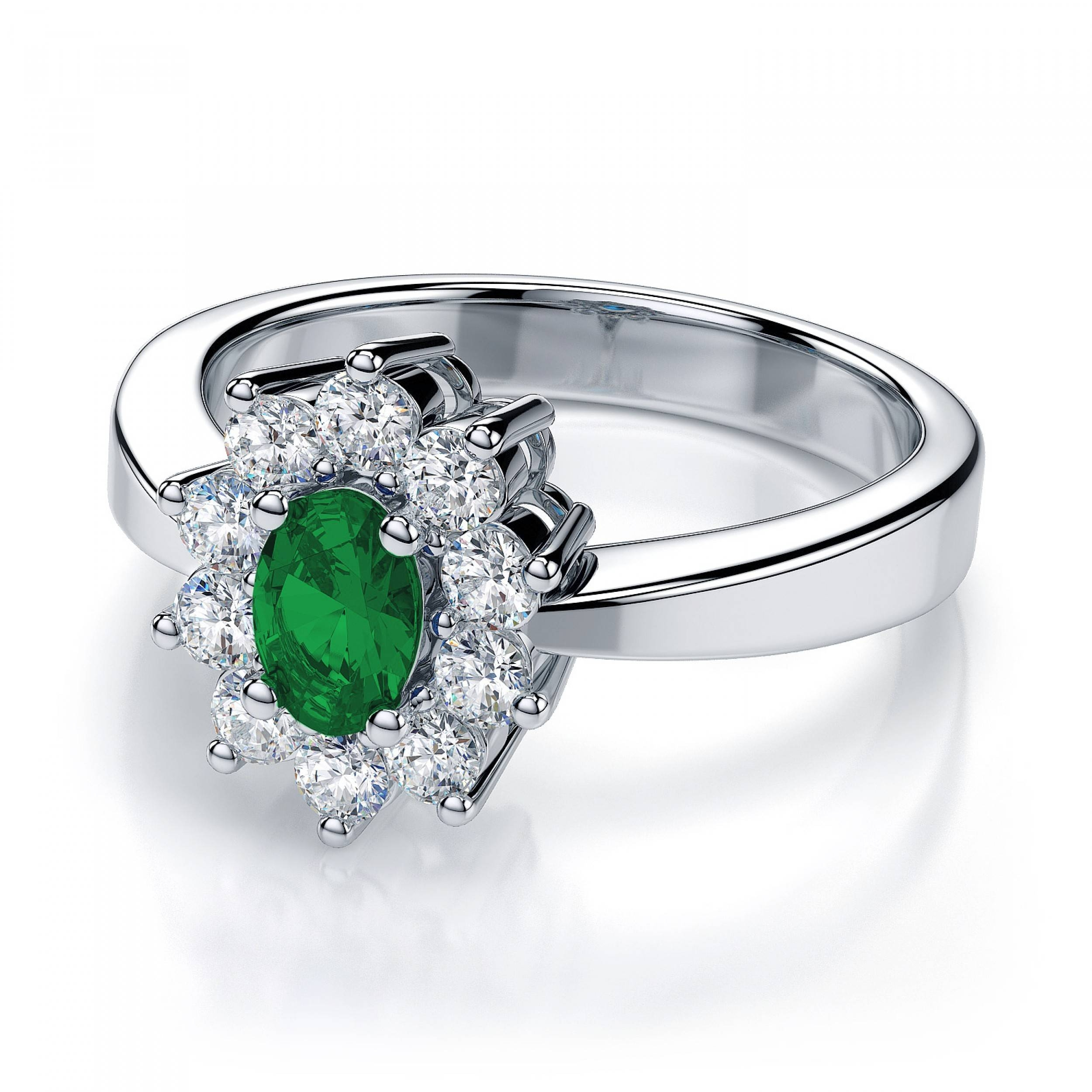 Lab Created Emerald Gemstone And Diamond Ring In 18K White Gold With Regard To Oval Emerald Engagement Rings (View 4 of 15)