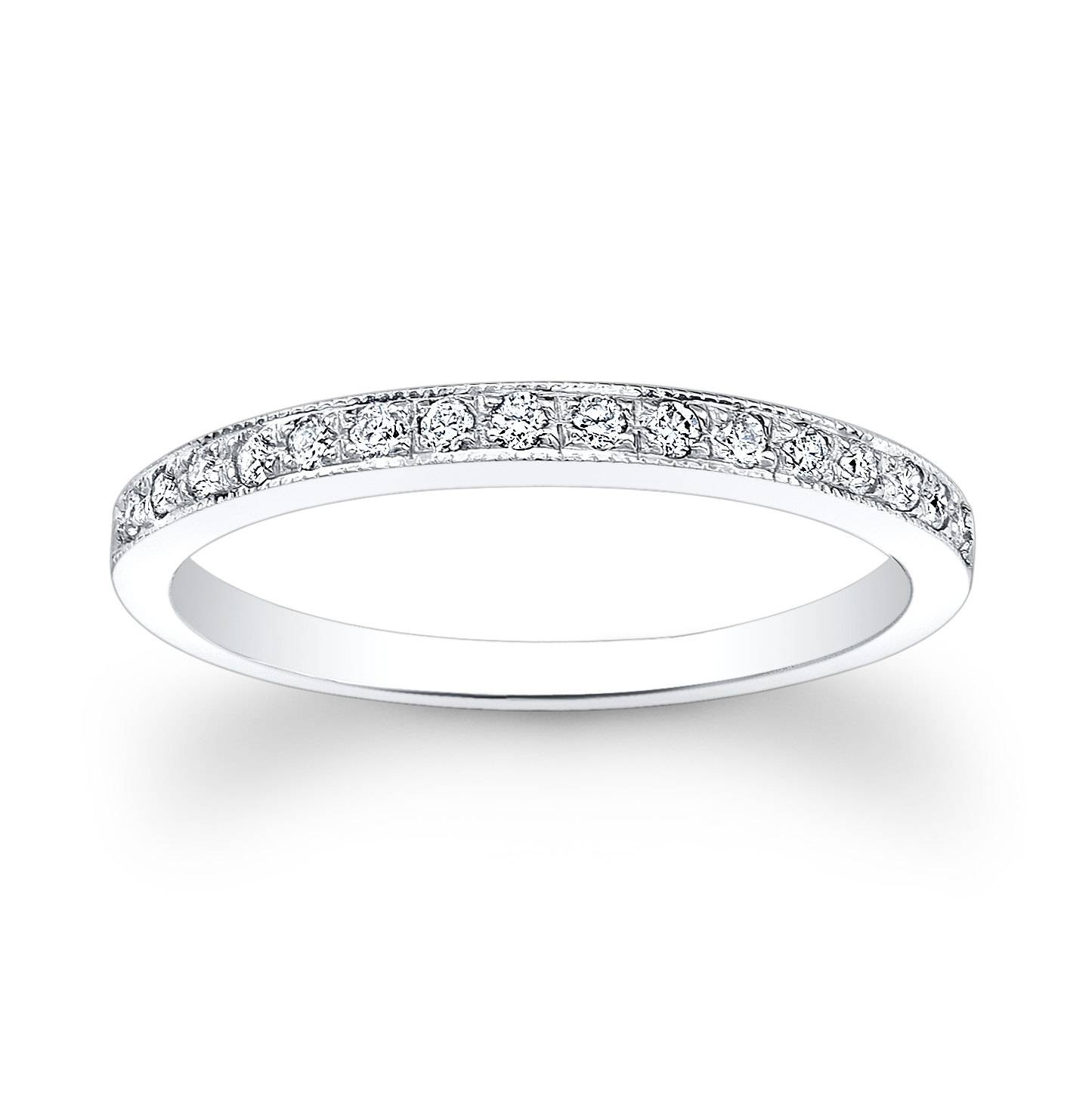 Ladies 14kt Thin Diamond Wedding Band (View 2 of 15)