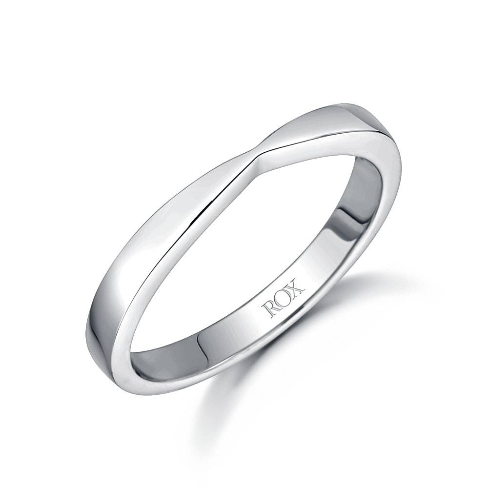 Ladies 18Ct White Gold Shaped Wedding Ring | Rox With Platinum Ladies Wedding Rings (View 9 of 15)