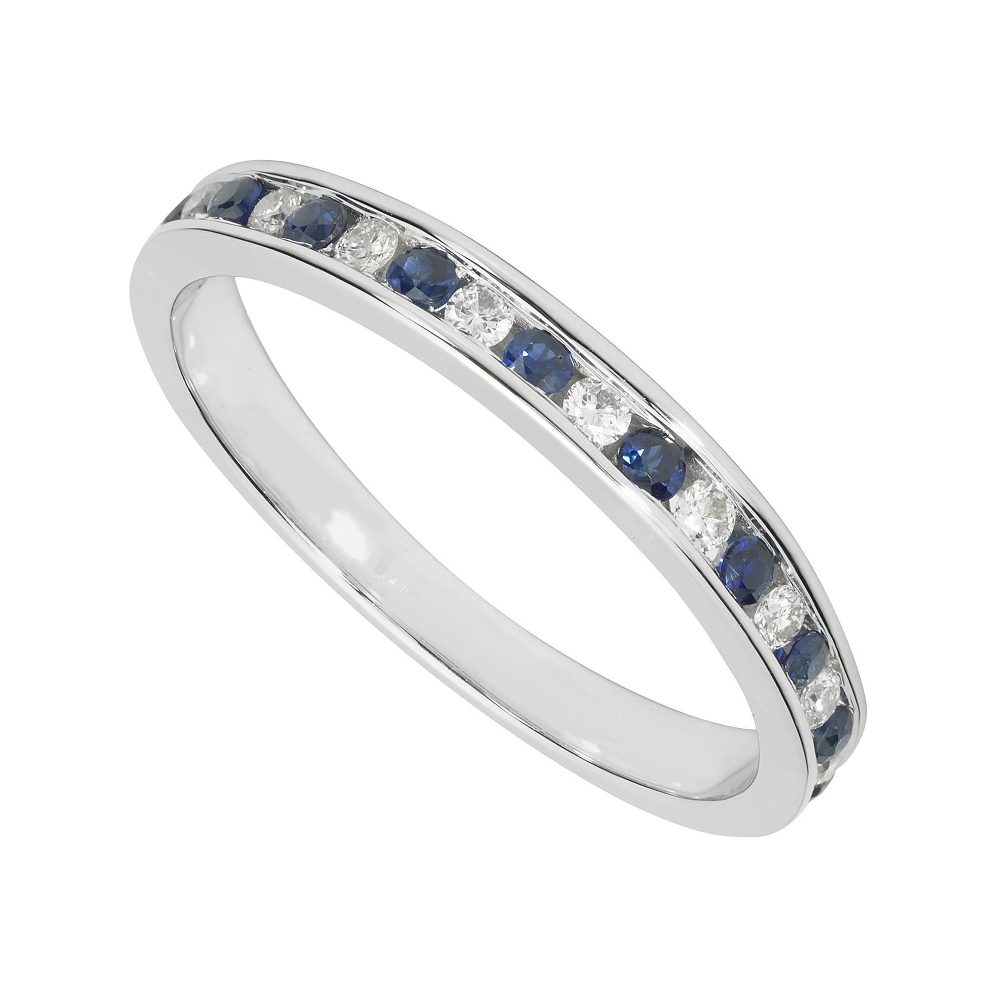 Ladies' 9ct White Gold Diamond And Sapphire Wedding Ring In White Gold And Diamond Wedding Rings (View 12 of 15)