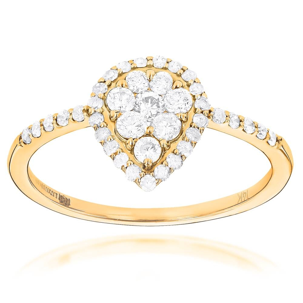 Ladies Diamond Rings 14K Cluster Diamond Ring 0.62Ct With Engagement Rings For Ladies (Gallery 15 of 15)