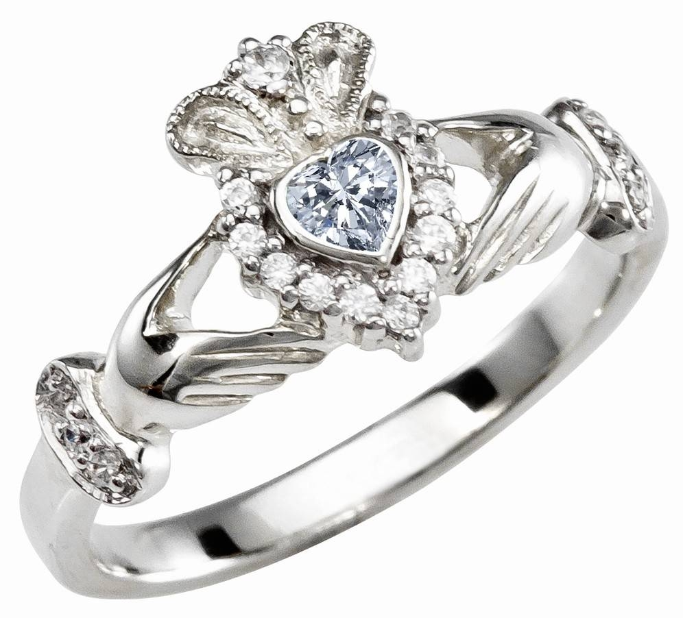 Ladies Diamond Silver Claddagh Ring – April Birthstone Within Claddagh Diamond Engagement Rings (View 10 of 15)