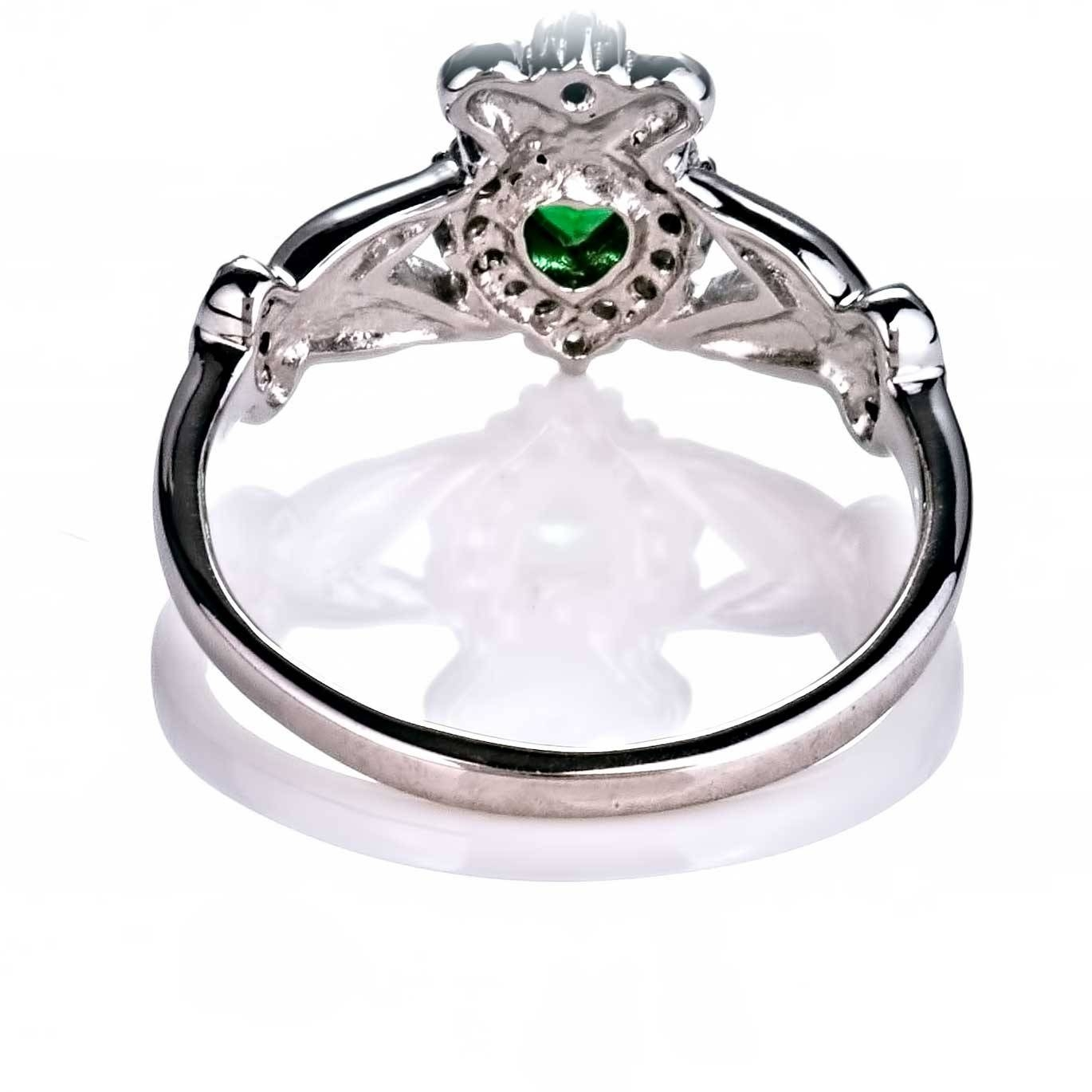 Ladies Emerald Diamond Silver Claddagh Ring – May Birthstone Intended For Emerald Claddagh Engagement Rings (View 12 of 15)