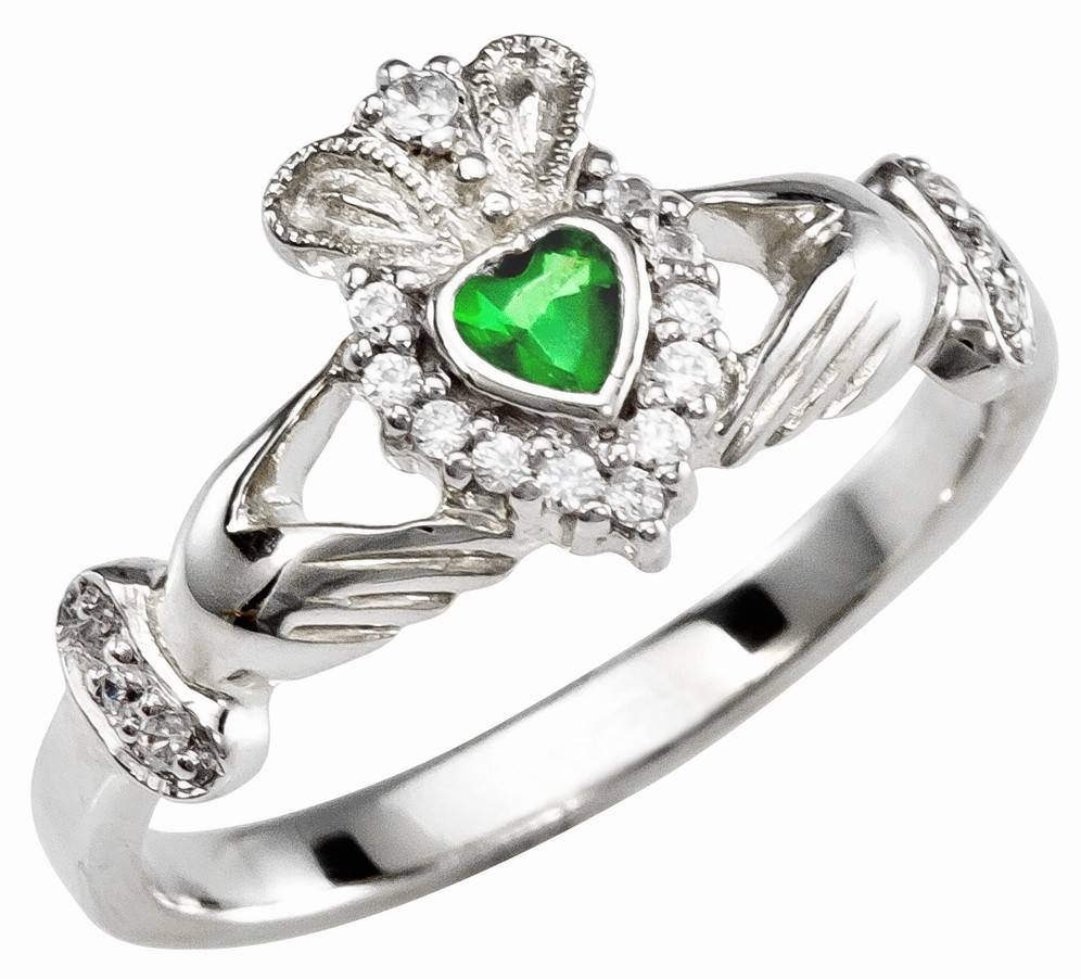 Ladies Emerald Diamond Silver Claddagh Ring – May Birthstone Intended For Silver Emerald Engagement Rings (View 8 of 15)