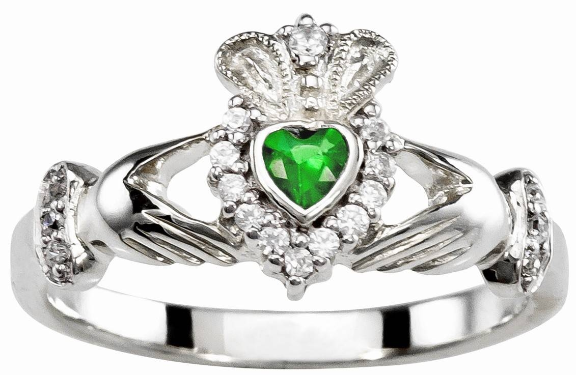 Ladies Emerald Diamond Silver Claddagh Ring – May Birthstone Pertaining To Claddagh Diamond Engagement Rings (View 9 of 15)