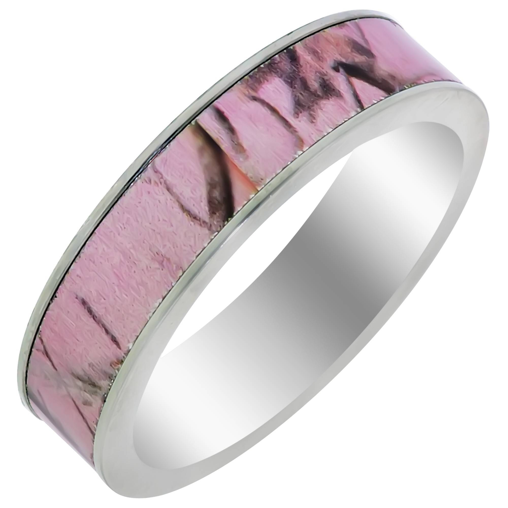 Ladies Pink Camouflage Wedding Band In Titanium (5mm) Regarding Camo Wedding Rings With Diamonds (View 11 of 15)
