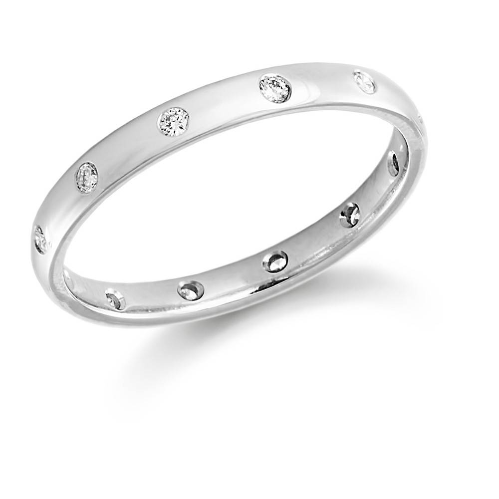 Ladies Platinum 12X Rubover Diamond Set Wedding Ring For Platinum Ladies Wedding Rings (View 10 of 15)