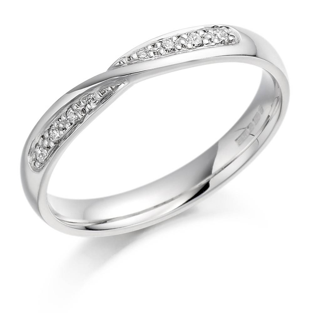 Ladies Platinum Crossover Diamond Set Wedding Ring With Regard To Platinum Ladies Wedding Rings (View 11 of 15)