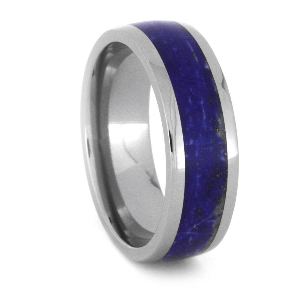 Lapis Lazuli Wedding Band Set, His And Hers Titanium Rings 3433 In Titanium Wedding Bands Sets His Hers (View 7 of 15)