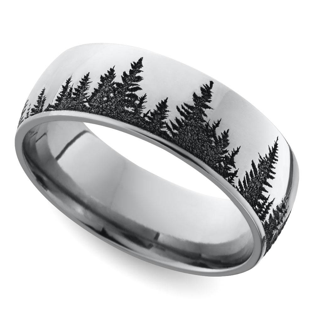 Laser Carved Forest Pattern Men's Wedding Ring In Cobalt For Cool Wedding Bands For Guys (View 5 of 15)