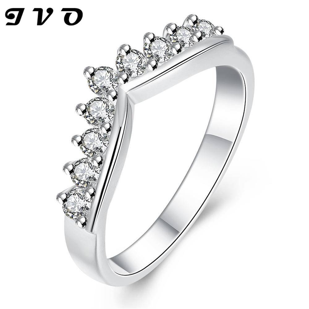 Latest Design Silver Plated Rings Jewelry Exquisite Romantic Crown For Female Engagement Rings (Gallery 2 of 15)