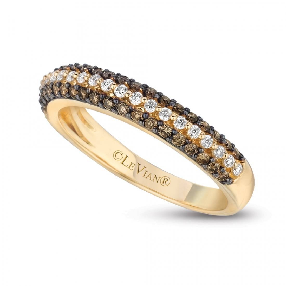 Le Vian 14k Yellow Gold Chocolate Pave Diamond Wedding Band In Le Vian Wedding Bands (View 9 of 15)