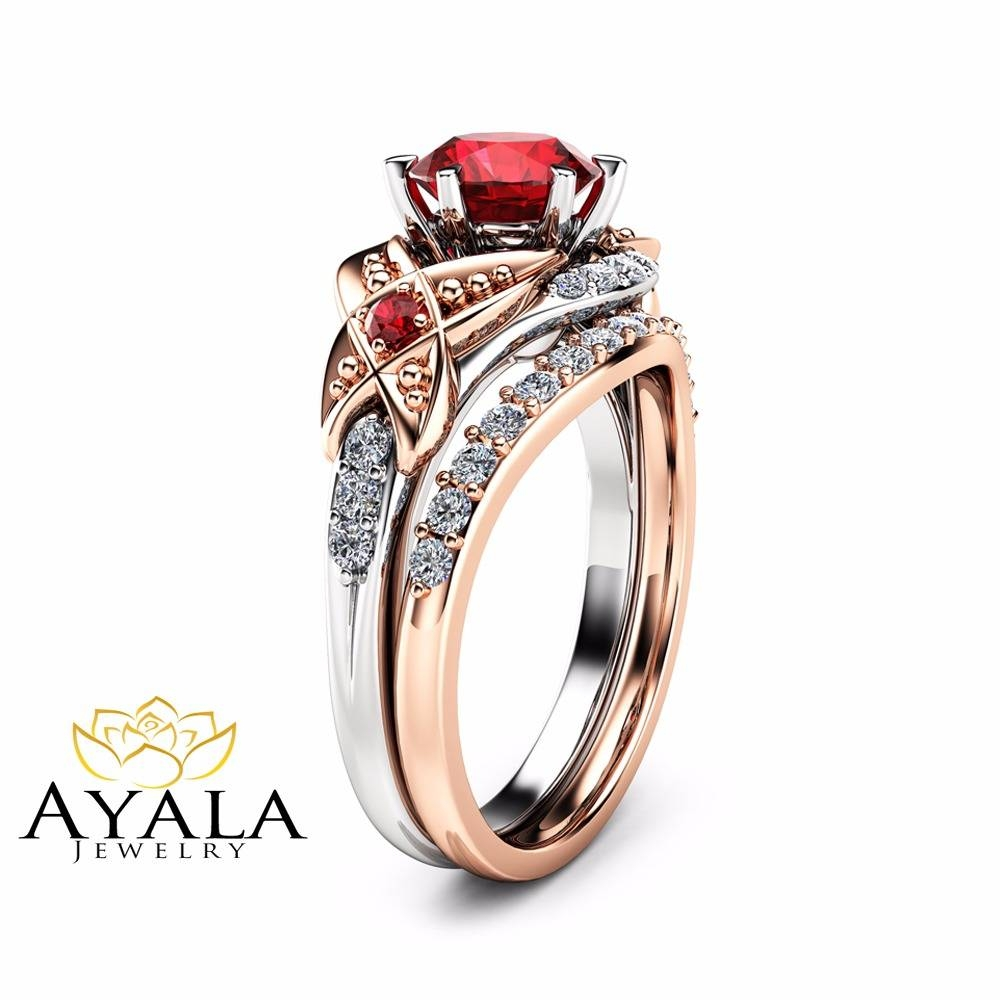 Leaf Ruby Engagement Ring Set 14k Two Tone Gold Ring With Matching Pertaining To Gold Ruby Engagement Rings (View 9 of 15)