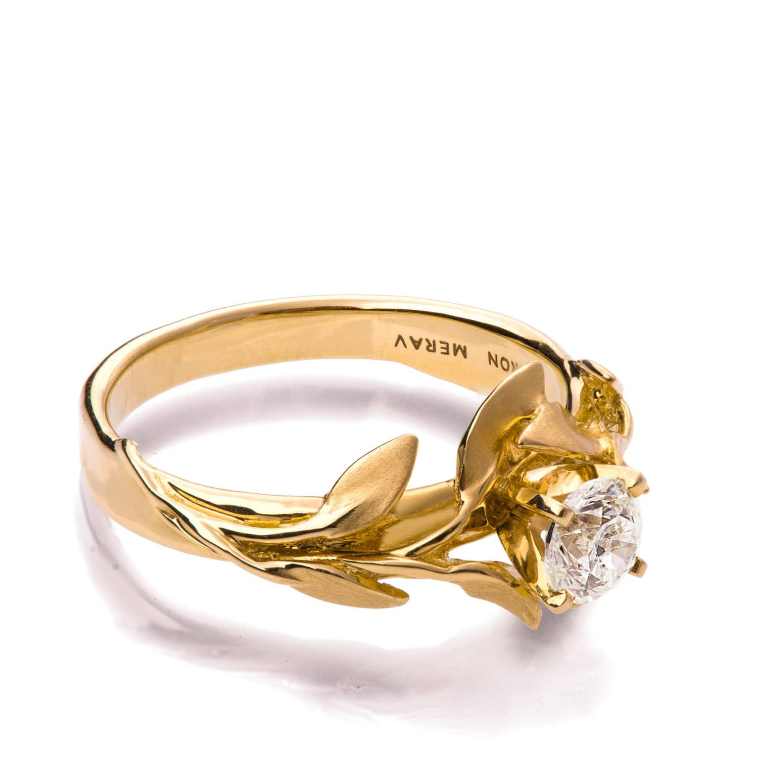 Leaves Engagement Ring No.4 18K Yellow Gold And Diamond Throughout Engagement Rings Without Stone (Gallery 7 of 15)