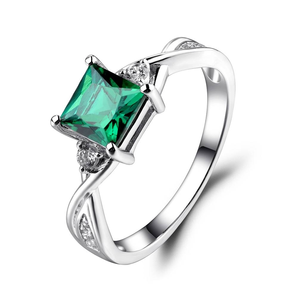 Leige Jewelry Princess Cut Emerald Engagement Rings For Women Inside Princess Cut Emerald Engagement Rings (View 10 of 15)