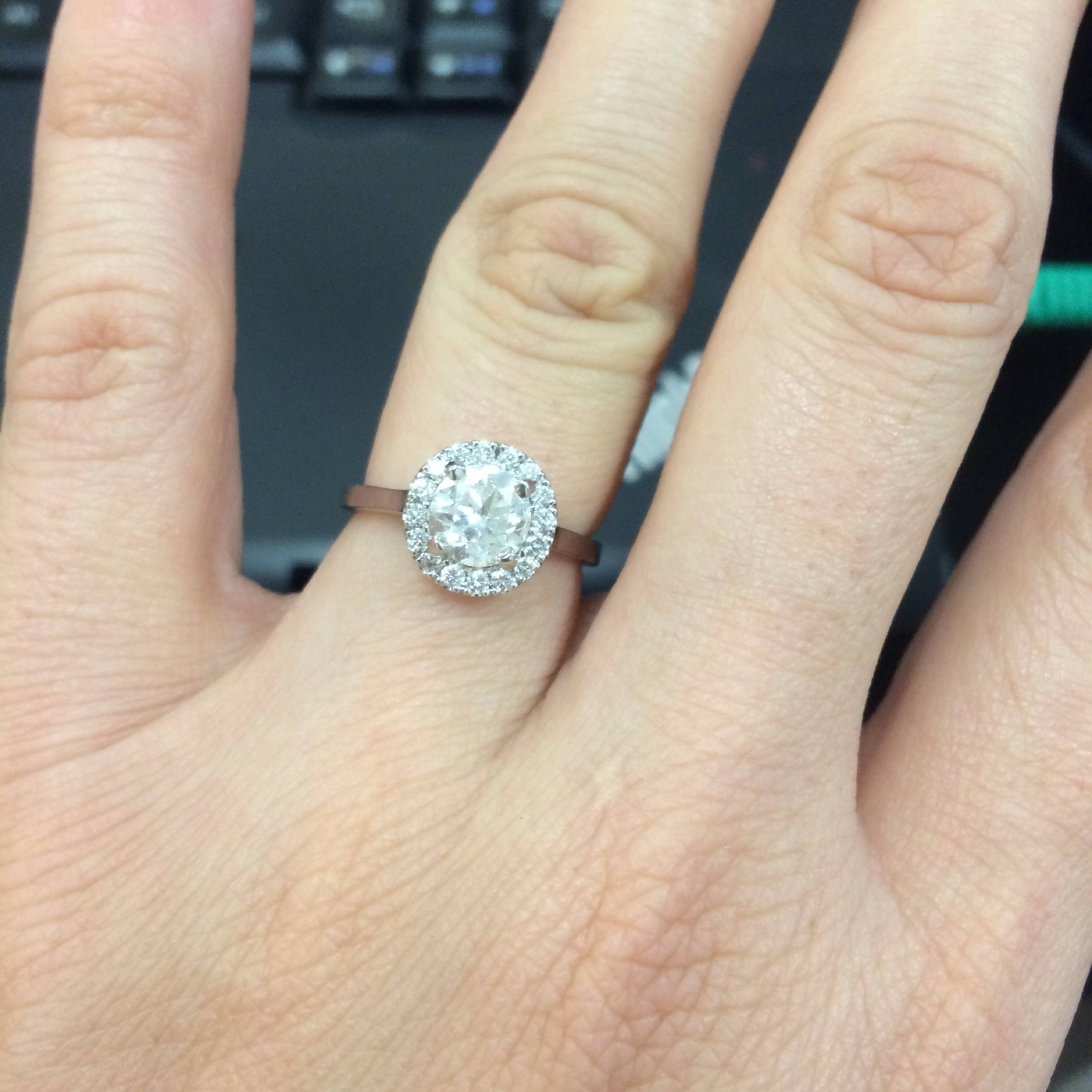 Let's See Pictures Of Your Plain Shank Halo Engagement Rings Inside Flat Engagement Rings (Gallery 9 of 15)