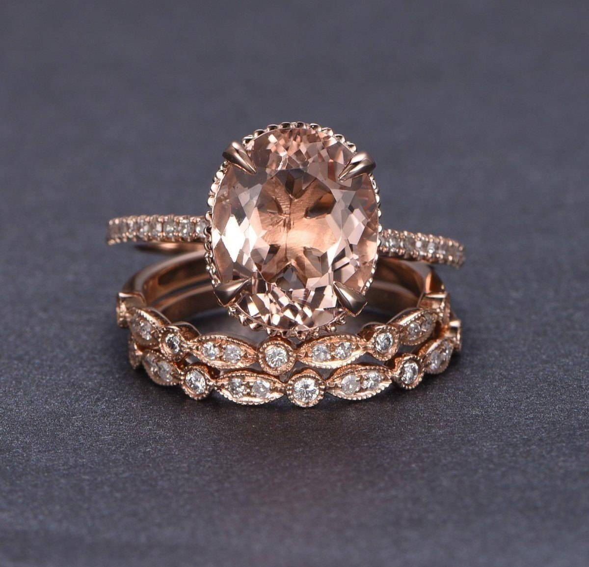 Limited Time Sale 2 Carat Morganite And Diamond Trio Ring Set In Pertaining To Engagement Rings With 2 Wedding Bands (View 7 of 15)