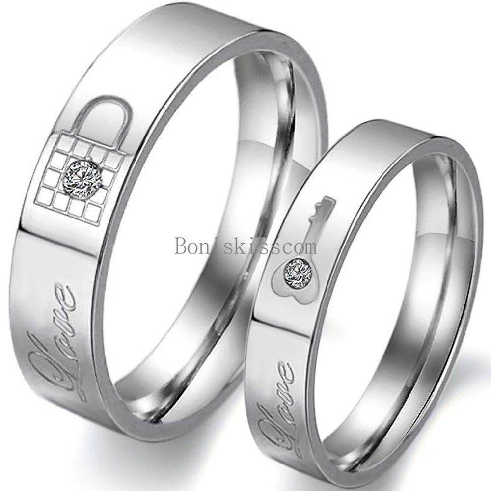 "Lock And Key Promise Ring "" Love "" Engraved Couples Engagement Within Couple Rings For Engagement (View 11 of 15)"