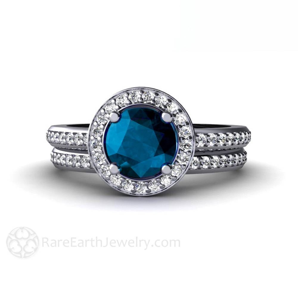 London Blue Topaz Engagement Ring & Wedding Band Diamond Halo For Engagement Rings With December Birthstone (View 9 of 15)