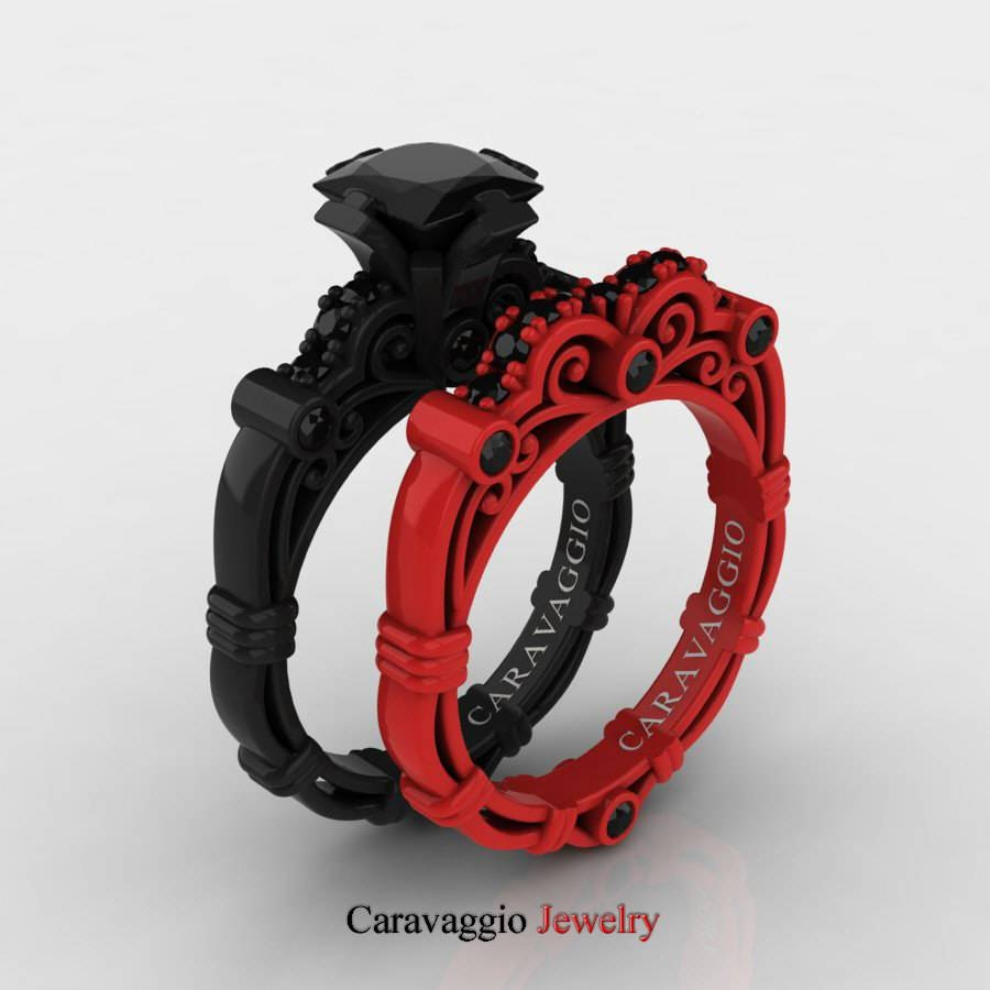 London Exclusive Caravaggio 14K Black And Red Gold 1.25 Ct In Black And Red Wedding Bands (Gallery 1 of 15)
