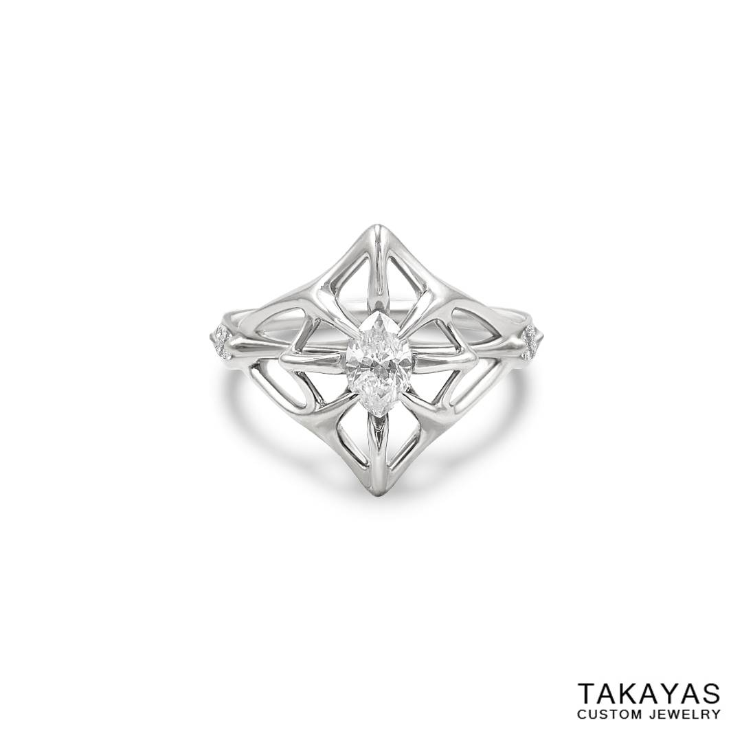 Lord Of The Rings Inspired Elven Wedding Ring Set — Takayas Custom Intended For Elven Engagement Rings (View 8 of 15)