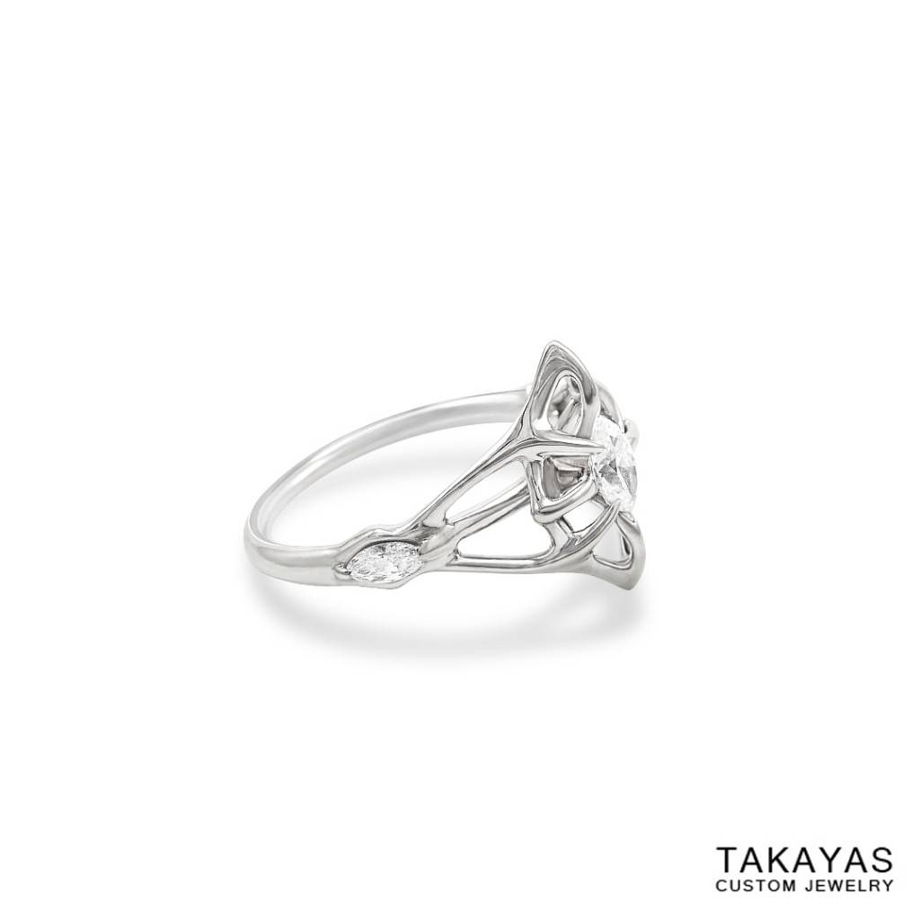 Lord Of The Rings Inspired Elven Wedding Ring Set — Takayas Custom Pertaining To Elvish Style Engagement Rings (Gallery 1 of 15)