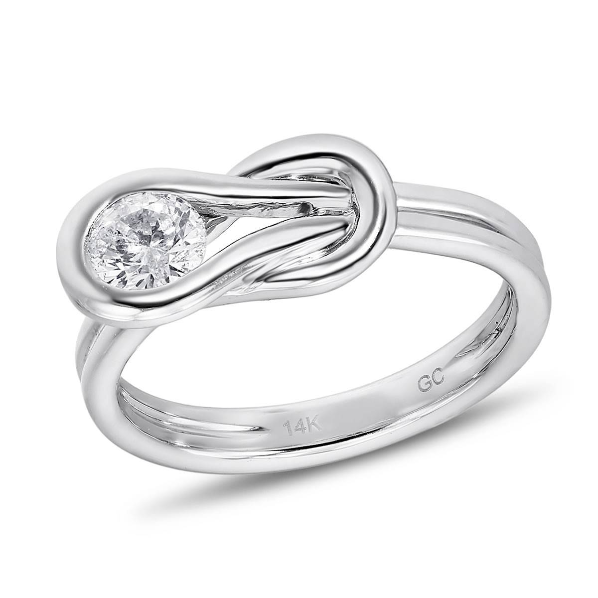 Love Knot Collection, 14K White Gold Round I2 Diamond Ring, 1/2 Pertaining To Love Knot Engagement Rings (View 11 of 15)