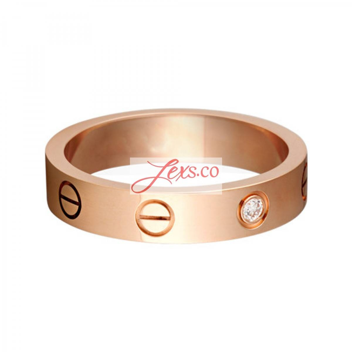 Love Wedding Band Fake 18K Pink Gold Love Ring With 1 Diamond Copy With Cartier Wedding Bands (Gallery 4 of 15)