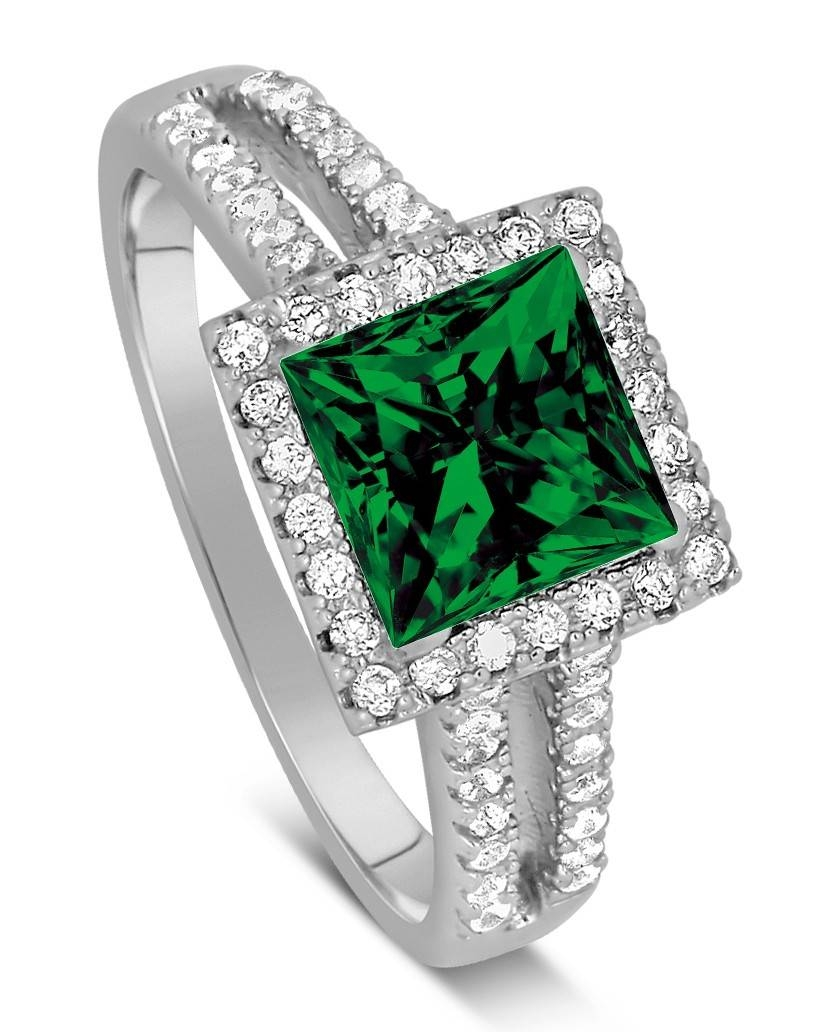 Luxurious 1.50 Carat Princess Cut Green Emerald And Diamond Within Emerald Engagement Rings For Women (Gallery 9 of 15)