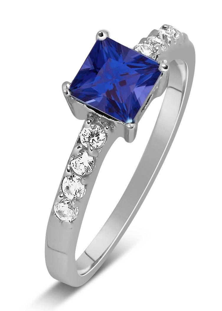 Luxurious 1 Carat Princess Cut Blue Sapphire And White Diamond Inside Princess Cut Sapphire Engagement Rings (View 9 of 15)