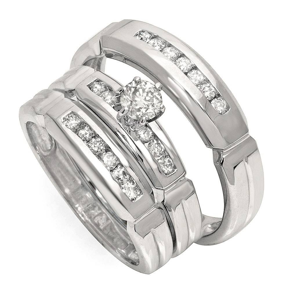 Luxurious Trio Marriage Rings Half Carat Round Cut Diamond On Gold With Regard To Engagement Ring Sets For Him And Her (View 8 of 15)