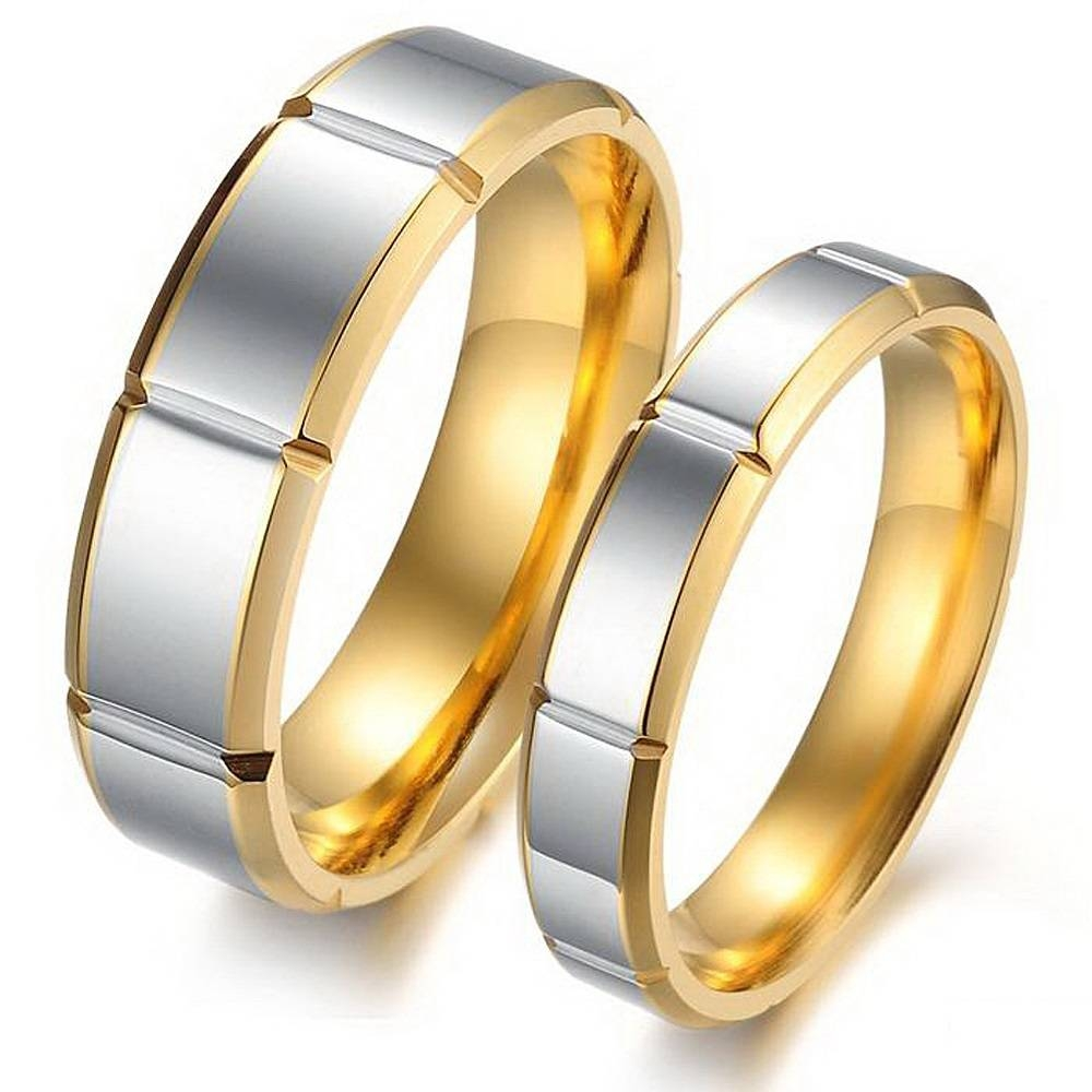 Male And Female Matching His Hers Rings Segmental Band Golden Edge Within Male And Female Matching Engagement Rings (View 8 of 15)