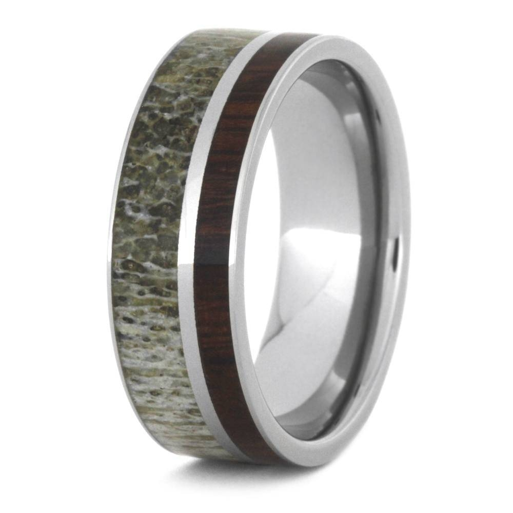 Manly Deer Antler Wedding Band Paired With Ironwood, Titanium Ring Pertaining To Antler Wedding Bands (View 10 of 15)