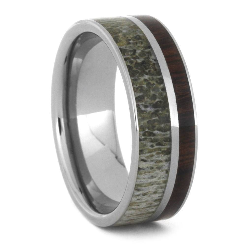 Manly Deer Antler Wedding Band Paired With Ironwood, Titanium Ring With Deer Antler Wedding Bands (Gallery 11 of 15)