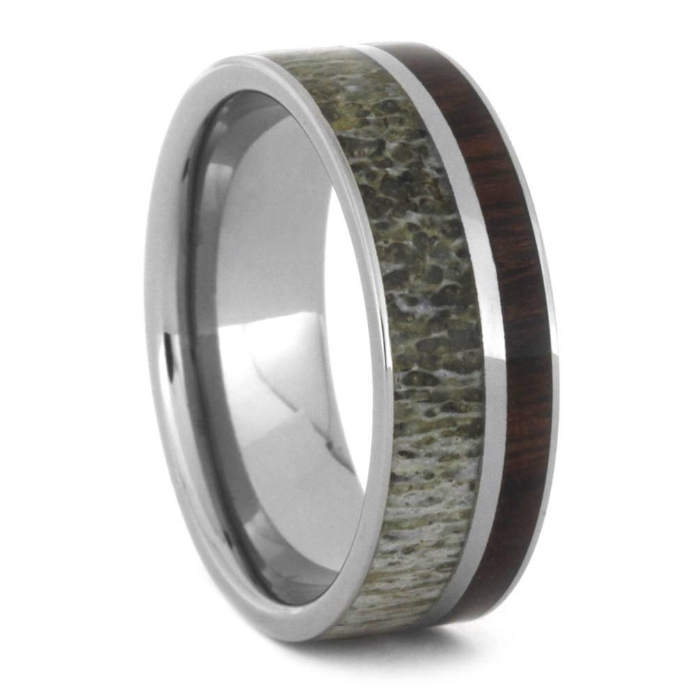 manly deer antler wedding band paired with ironwood titanium ring with deer antler wedding bands - Deer Antler Wedding Rings
