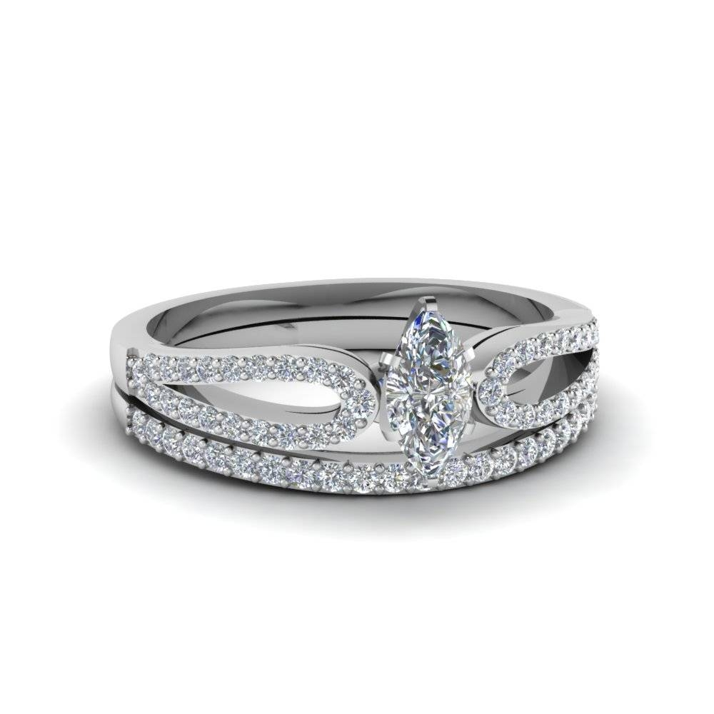 Marquise Cut Loop Diamond Ring With Matching Band In 14K White For Marquis Wedding Bands (View 8 of 15)